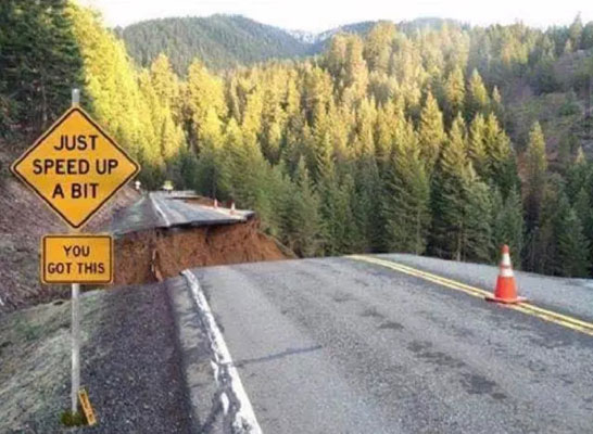 Road with section washed out