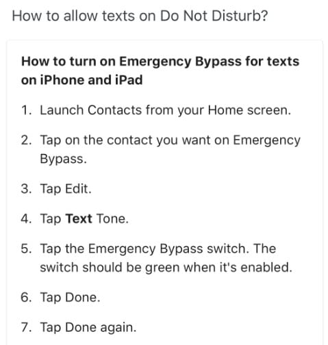 get text messages in do  not disturb instructions