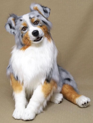 lifelike stuffed toy australian shephard