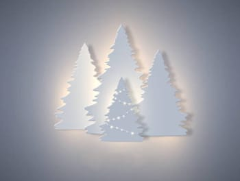 white paper cut out pine trees