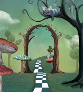 Surreal landscape with a magic passage and a cheshire cat watching the scene on a tree branch